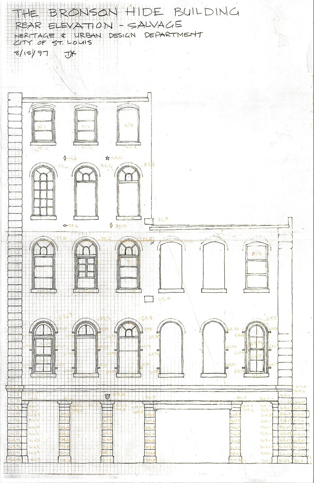 Bronson Hide: Iron Store Front, drawing of rear elevation.