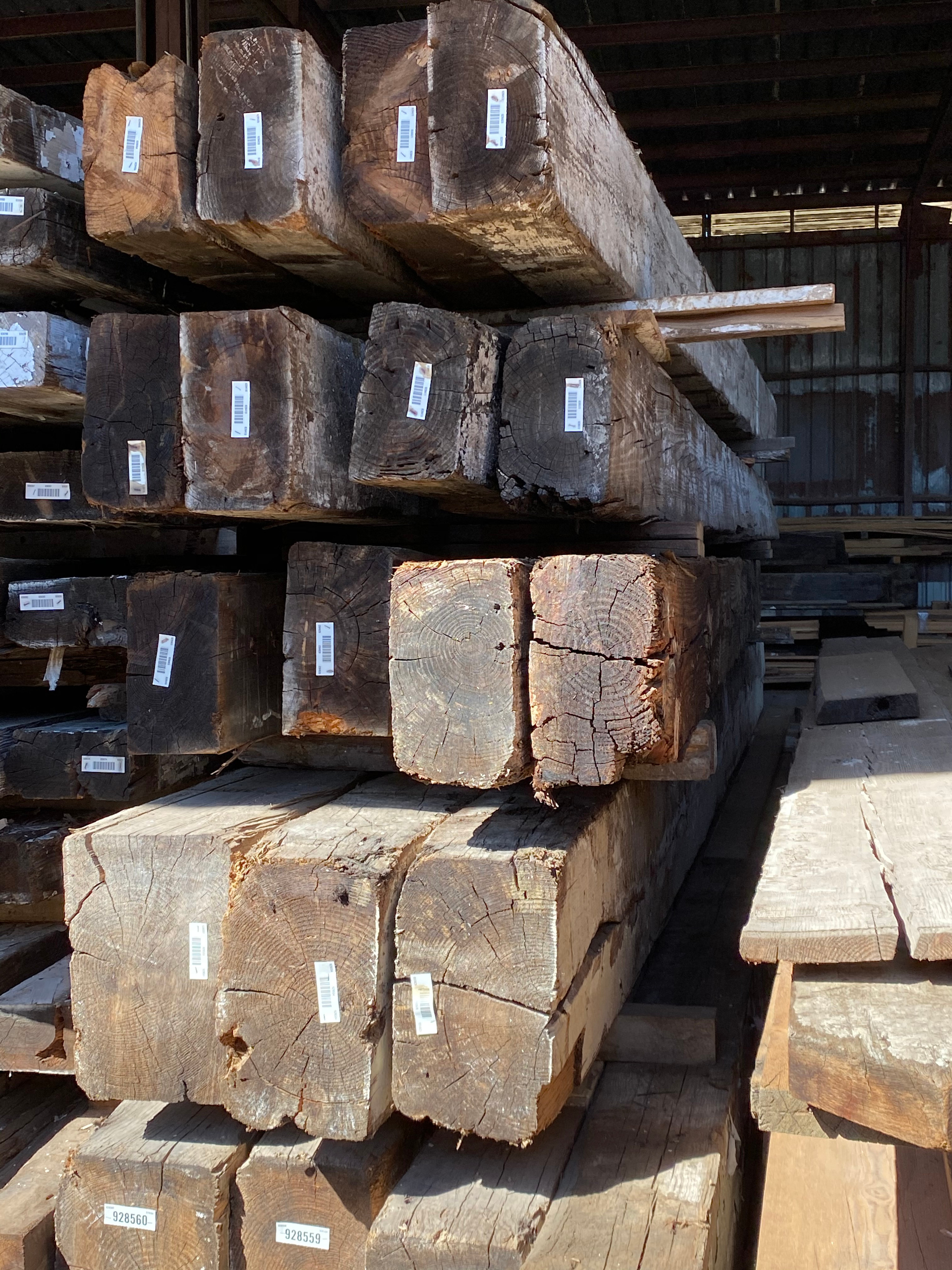 """Reclaimed Longleaf Pine in nominal 18"""" widths, up to 24' lengths. Various sizes."""