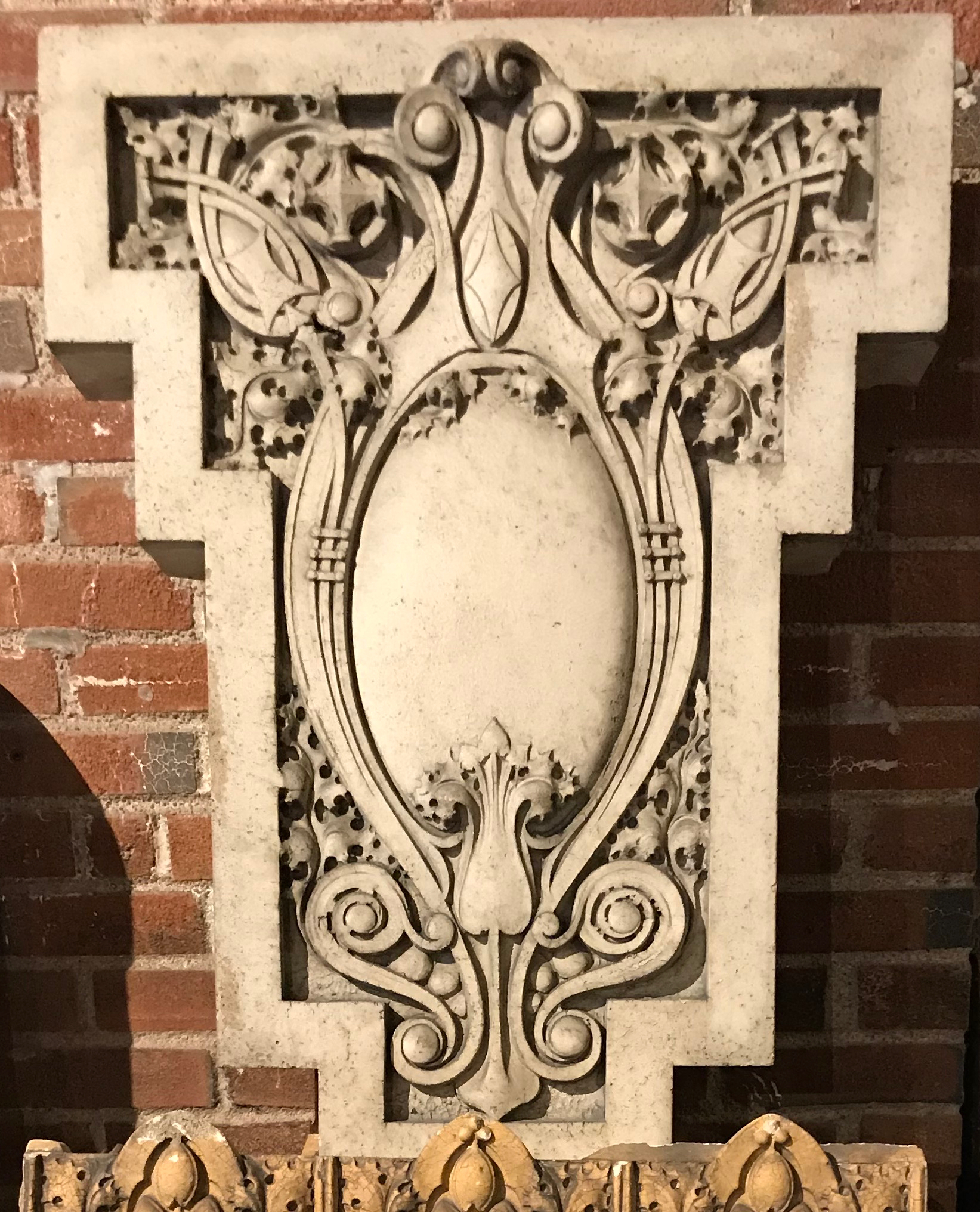 Cast terra cotta salvaged from the Raleigh Residence on Washington Ave. in St. Louis MO.