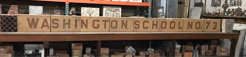 Cast terra cotta signage from a Southern Illinois grade school.