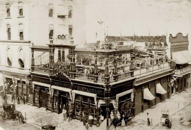 Historical photograph of Tony Faust's Restaurant.