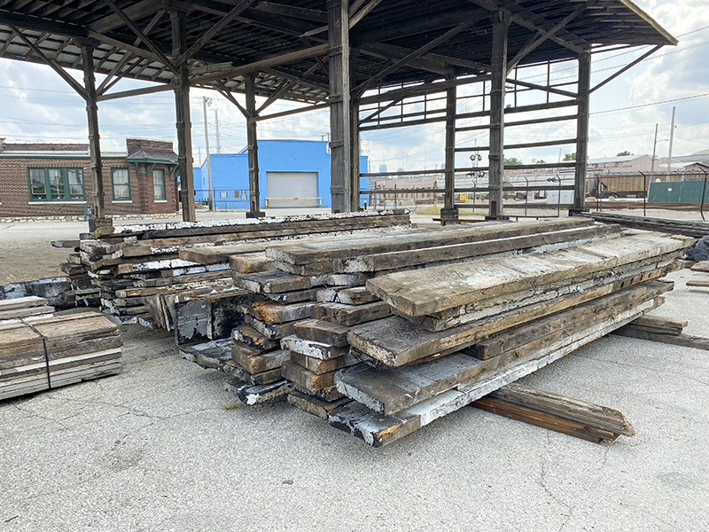 Reclaimed lumber from the Servco Building in St. Louis MO.