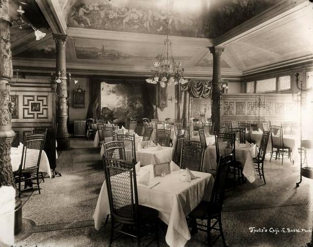 Vintage interior photograph of Tony Faust's Restaurant.