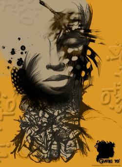 Fashion Illustration: yellow, feathers, black.