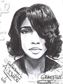"""""""Black ink stylographic pen portrait (009): Rihanna's portrait."""