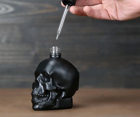 Black Frosted Glass Skull Medicine Dropper Bottle