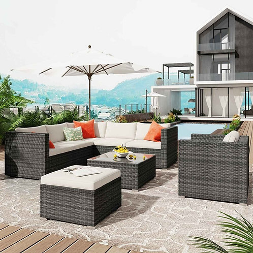 8-Piece Wicker Sofa With Cushions, Ottoman and Coffee Table
