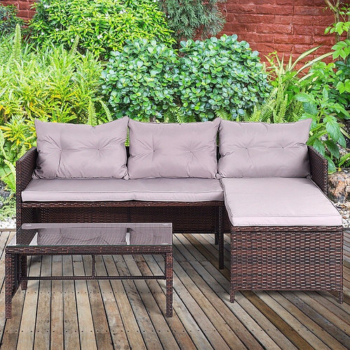 3 Piece Outdoor Rattan Furniture Sofa Set