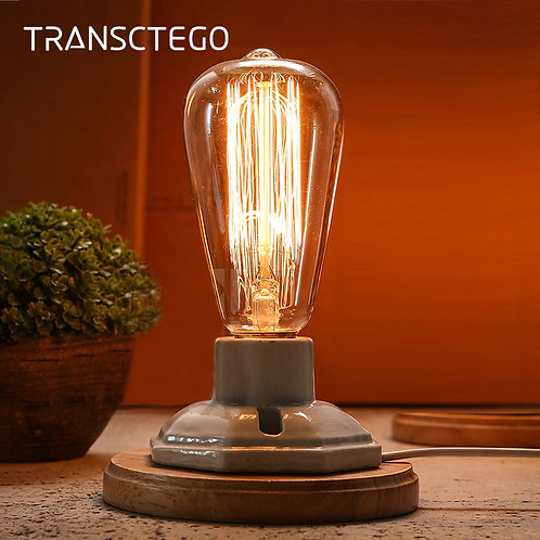 Vintage Ceramic Lamp Wood