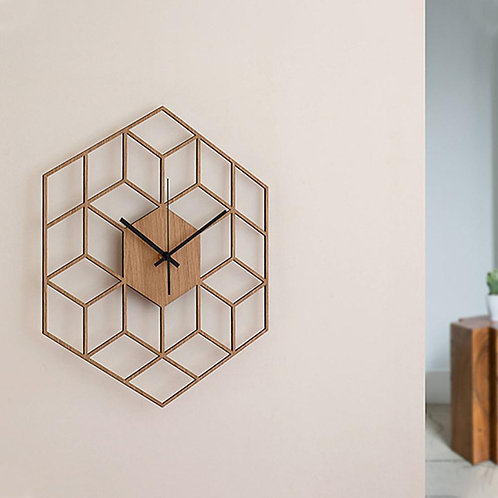 Hexagonal Bamboo Wall Clock