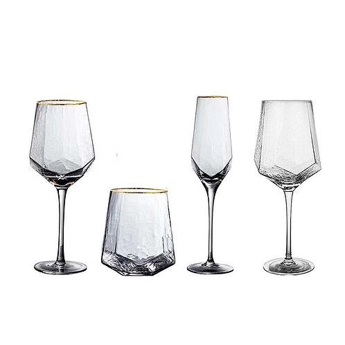 Set of 2 Gold Rimmed, Hammered Bar Glasses