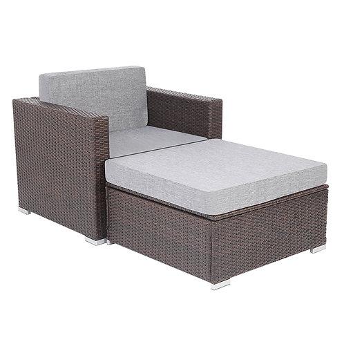 Patio PE Wicker Rattan Single Sofa and Ottoman Sofa