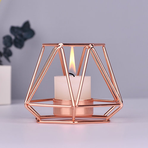Geometric   Wrought Iron Candle Holders