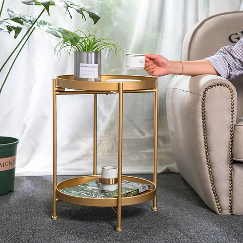 Simple Iron Double-Layer Accent Table