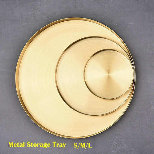 Gold Round Stainless Steel Storage Trays