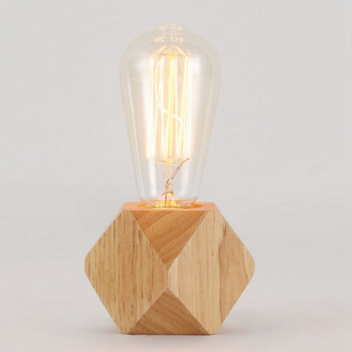 Modern Wooden Diamond Shape Desk Lamp