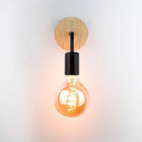 Wooden and Metal Industrial Wall Sconce