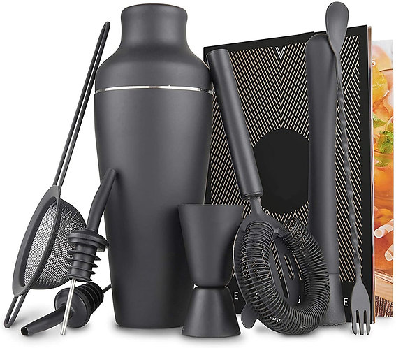 Matte Black 11 Piece Stainless Steel Cocktail Shaker and Bar Tool Set