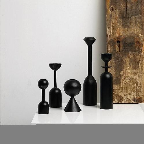 Black Wooden Candle Holder