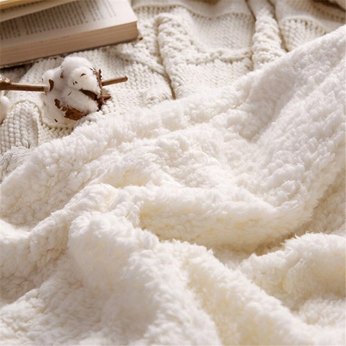 Lamb Wool Twist Knitted Double Layer Blanket