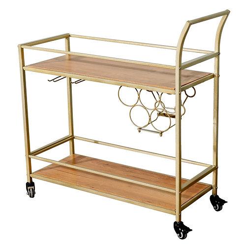 2-Layer Gold Metal and Wooden Top Bar Cart