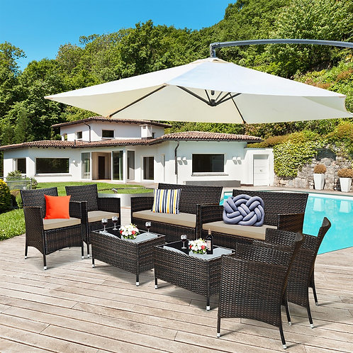 8 Piece Rattan Patio Set