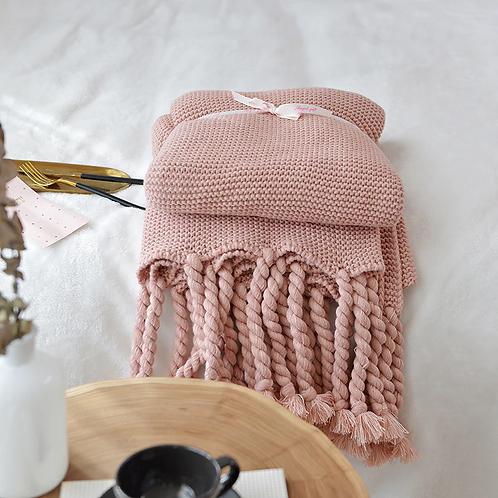 Knitted Tassel Blanket