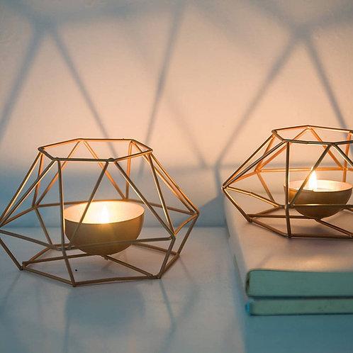Geometric Iron Tea Light Candle Holder