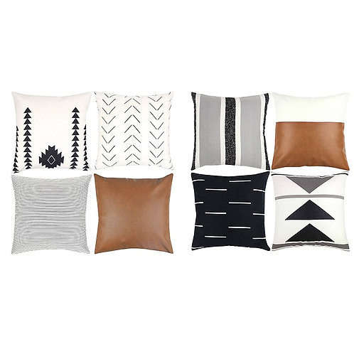 """18"""" Modern Geometric Faux Leather Pillow Covers"""