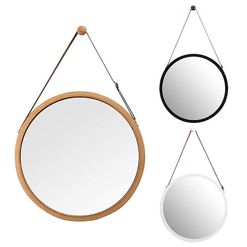 Hanging Round Wall Mirror - Solid Bamboo Frame & Adjustable Leather Strap