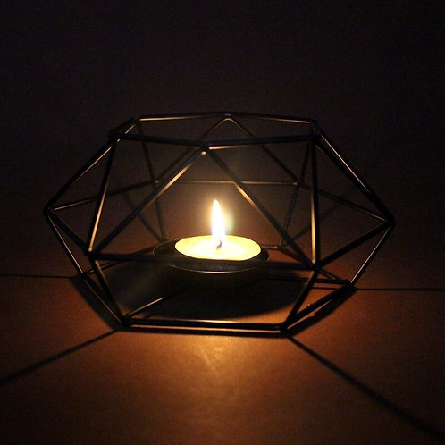 Geometric Iron Candlestick Holders