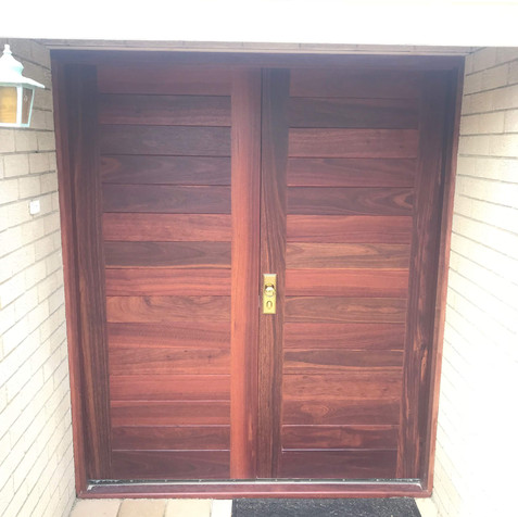 Multi-panel Stained Entry Double Door
