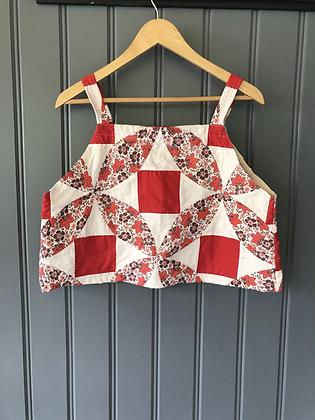 One-of-a-kind: Red Square Floral Apron Tank (L)