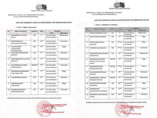 Liste des candidats admis au recrutement des formateurs en BTP