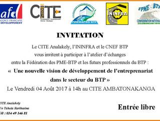 Invitation à l'atelier d'échanges entre la FPME BTP et les futurs professionnels du BTP, ce