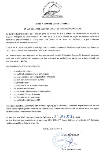 Appel à manifestation d'intérêt, en vue de la mise à jour de la base de données fournisseurs du CNEF
