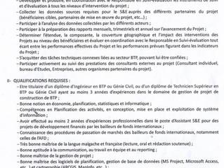 Recrutement : Assistant(e) en suivi et évaluation
