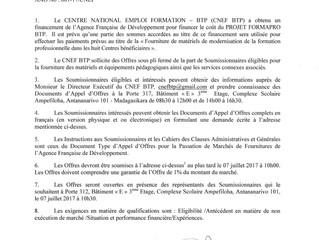 """Avis d'Appel d'Offres International : """"Fourniture de matériels de modernisation de la f"""