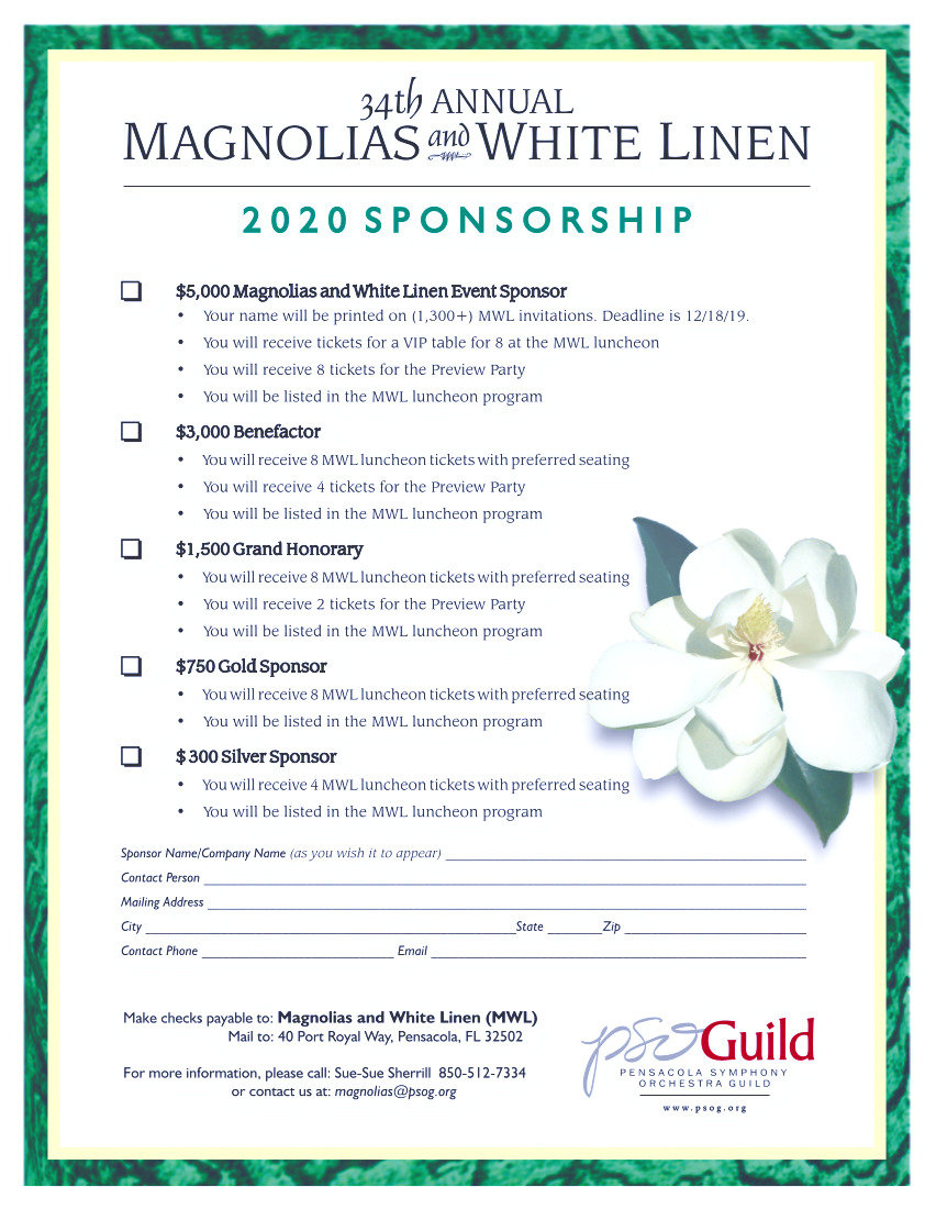 Magnolias and White Linen Sponsorships