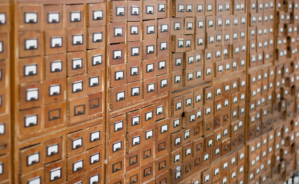 Rows of Card Catelog Cabinets