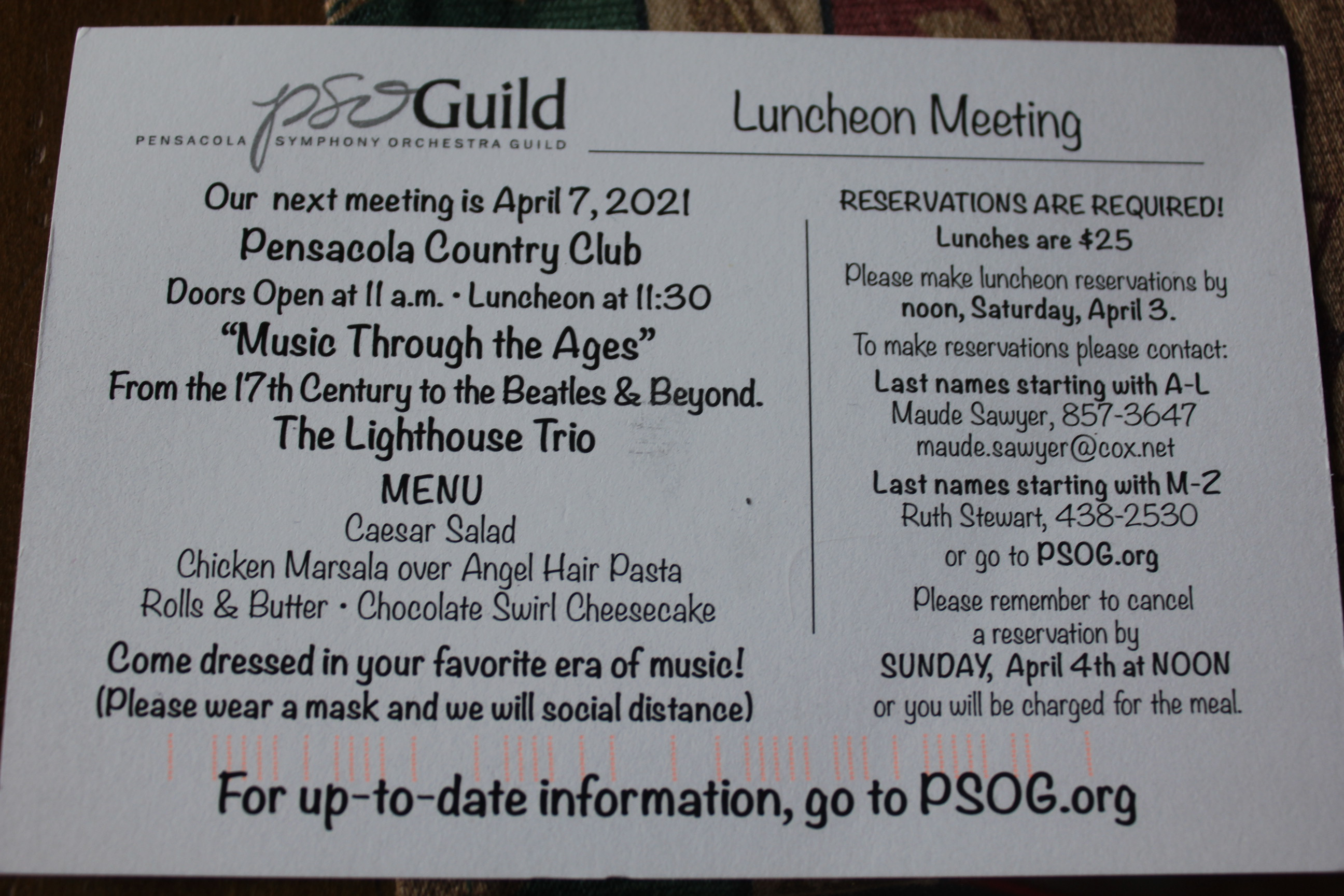 PSOG April 2021 Luncheon