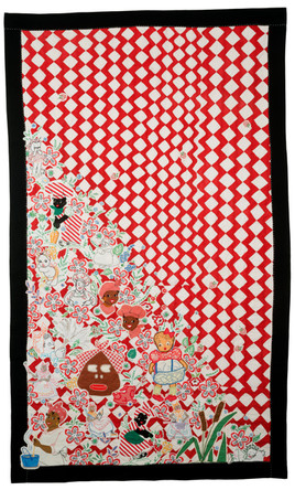 Red and White Quiltwith Racist Embroidery
