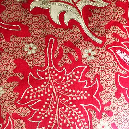 Batik Javanais Rouge. 100% Coton.