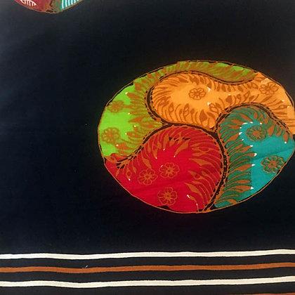 Batik Javanais Noir, Motifs Contemporains, 100% Coton.