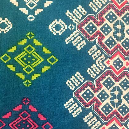 Batik Javanais Bleu Canard, Motifs Géométriques, 100% Coton.