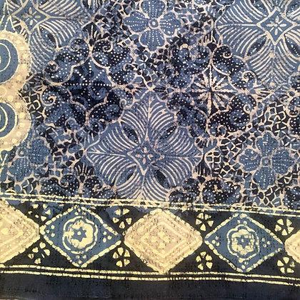 """Batik Javanais """"Tulis"""" Bleu, 100% Coton."""