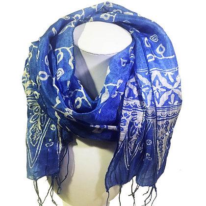 Foulard bleu Azur en Soie, imprimé main