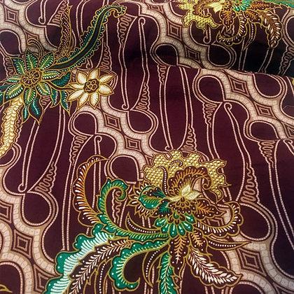 Batik Javanais Carmin, Motifs Floraux, 100% Coton.