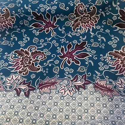 Batik Javanais Bleu Canard, Motifs Floraux, 100% Coton.
