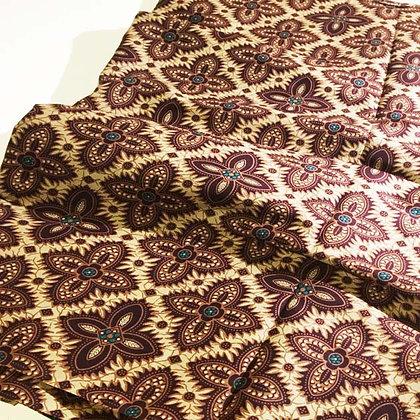 Batik Javanais Fauve et Ocre. 100% Coton.